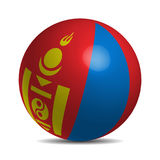 Mongolei-Flagge auf einem Ball 3d mit Schatten Stockbilder