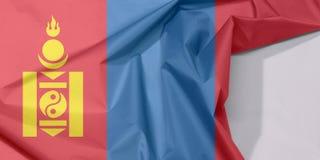 Mongolei-Gewebeflaggenkrepp und -falte mit Leerraum lizenzfreie stockfotografie