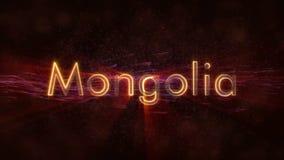 Mongolei - glänzende Schleifungsländername-Textanimation stock video