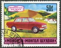 MONGOLEI - 1971: Shows Automobil, Jahrestag der Reihe 50. von MO Lizenzfreie Stockbilder