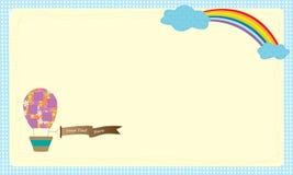 Mongolfiera di vettore della cartolina d'auguri sopra il cielo Immagini Stock Libere da Diritti