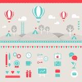 Mongolfiere, colline, nuvole, alberi e paesaggio delle tende Elementi di disegno Fotografia Stock