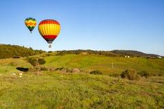 Mongolfiere sopra il paese di vino di Napa Valley ad alba Immagini Stock