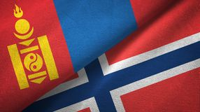Mongolië en Noorwegen twee vlaggen textieldoek, stoffentextuur vector illustratie