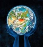 Mongolië op aarde in handen Royalty-vrije Stock Afbeelding