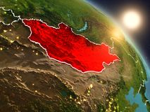 Mongolië van ruimte tijdens zonsopgang Royalty-vrije Stock Foto's