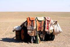 Mongolia – nomad horse saddles. Nomad saddles in the Yol Valley, Gobi Desert steppes, Mongolia Royalty Free Stock Photos