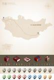Mongolia. And Asia maps, plus extra set of isometric icons & cartography symbols set (part of the World Maps Set Stock Photo