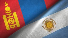 Mongolia and Argentina two flags textile cloth, fabric texture. Mongolia and Argentina flags together textile cloth, fabric texture vector illustration