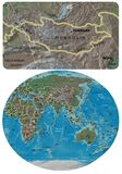 Mongolia and Asia Oceania maps. Mongolia close up from Asia Oceania map Royalty Free Stock Image