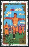 Mongolian wrestling. MONGOLIA - CIRCA 1988: stamp printed by Mongolia, shows Mongolian wrestling, circa 1988 Royalty Free Stock Photo