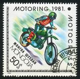 Motorsport. MONGOLIA - CIRCA 1981: stamp printed by Mongolia, shows motorsport, circa 1981 stock photos