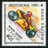 Motorsport. MONGOLIA - CIRCA 1981: stamp printed by Mongolia, shows motorsport, circa 1981 stock images