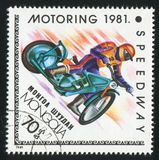 Motorsport. MONGOLIA - CIRCA 1981: stamp printed by Mongolia, shows motorsport, circa 1981 stock photo
