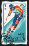 Slalom. MONGOLIA - CIRCA 1988: stamp printed by Mongolia, shows  slalom, circa 1988 Royalty Free Stock Images