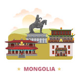 Mongolia country design template Flat cartoon styl. Mongolia country flat cartoon style historic sight web vector illustration. World travel sightseeing Asia Royalty Free Stock Photography