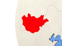 Mongolia on 3D globe. Map of Mongolia on globe with watery blue oceans and landmass with visible country borders. 3D illustration royalty free illustration