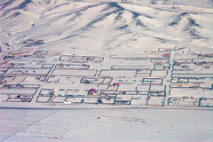 Mongolia Fences. Aerial view of fenced properties in Ulaanbaatar Mongolia Stock Photos
