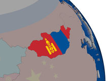 Mongolia with flag on globe Royalty Free Stock Photos