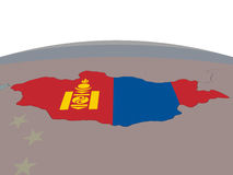 Mongolia with flag Stock Photo