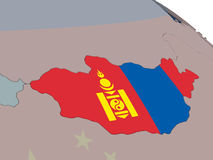 Mongolia with flag Royalty Free Stock Image