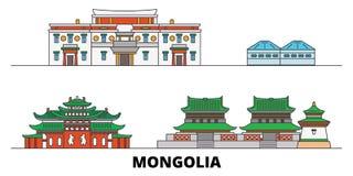 Mongolia flat landmarks vector illustration. Mongolia line city with famous travel sights, skyline, design. Mongolia flat landmarks vector illustration vector illustration