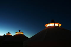 Mongolia home at twilight. Mongolia home  light at twilight royalty free stock image
