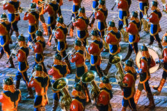 The Mongolia Honor Guard and the Central Military Band of the Armed Forces at the Red Square. MOSCOW, RUSSIA - AUGUST 26, 2016: Spasskaya Tower internationa Royalty Free Stock Images