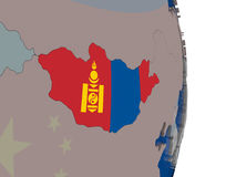 Mongolia with its flag Stock Photography