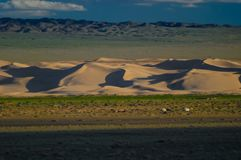 Mongolia landscape with nomad traditional Mongolian yurt Royalty Free Stock Photography