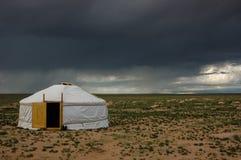Mongolia landscape with nomad traditional Mongolian yurt Royalty Free Stock Image