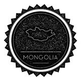 Mongolia Map Label with Retro Vintage Styled. Stock Image