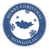 Mongolia map. Vintage Merry Christmas Mongolia. Mongolia map. Vintage Merry Christmas Mongolia Stamp. Stylised rubber stamp with county map and Merry Christmas Royalty Free Stock Photo