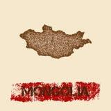 Mongolia martwił mapę Obrazy Royalty Free