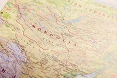 Mongolia na mapie świat fotografia royalty free