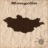 Mongolia old map with grunge and crumpled paper. Vector illustration Stock Images