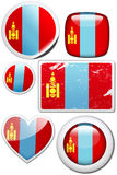 Mongolia - Set of stickers and buttons. Glossy and colorful stickers with reflection set Royalty Free Stock Images