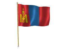Mongolia silk flag Stock Images