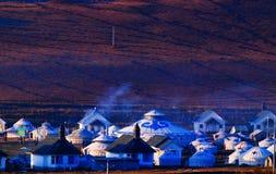 Mongolia tent cooking smoke Stock Images