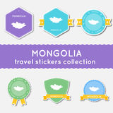 Mongolia travel stickers collection. Stock Image