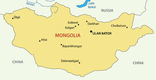 Mongolia - vector map of country Royalty Free Stock Image