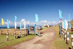 mongolia Vista dell'entrata al campo vicino al lago Hovsgol vicino al villaggio di khankh fotografie stock libere da diritti
