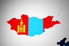 Mongolia on the world map 3d render Royalty Free Stock Photography