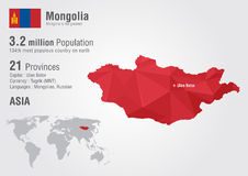 Mongolia world map with a pixel diamond texture. Creative world geography Royalty Free Stock Photos
