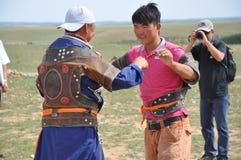 Mongolia wrestler Stock Photos