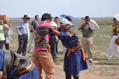 Mongolia wrestler Stock Photo