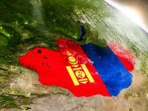 Mongolia z flaga w powstającym słońcu Zdjęcie Royalty Free