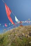 Mongolian Aobao and flag Stock Image