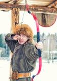 Mongolian Archer Portrait Images stock