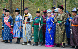 Mongolian archers Stock Images